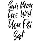 Set of days of a week. Handdrawn lettering. Vector inscriprion. Weekly calendar. Calligraphy illustration. Stock Photos