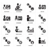 Set of De, Politician, Photographer, Gardener, Painter, call center, Detective, Maid, Receptionist icons. Set Of 16 simple  icons such as De, Politician, Taxi Royalty Free Stock Images