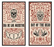 Set of Dead day banner template. Sugar skulls. Royalty Free Stock Photo