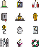 Set of death and funeral icons Stock Photos