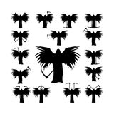 Set death with a scythe and wings silhouette Royalty Free Stock Images