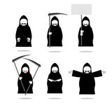 Set deaths in overalls. Grim Reaper in different poses. Skeleton. In cloak with  scythe. Death in black clothing with an empty plate. Death holds  book. Set of Royalty Free Stock Photography