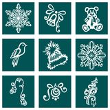 Set of Deco Ornamental Winter Objects Royalty Free Stock Image
