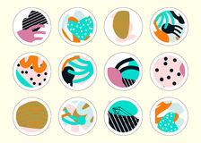 Set of decor elements and stickers with hand drawn textures Stock Images