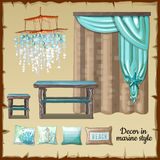 Set of decor and furniture in a nautical style Royalty Free Stock Photo