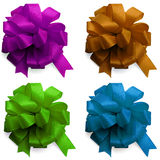 Set decor satin bows isolated Royalty Free Stock Image