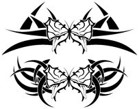 Set of Decorated butterflies tattoo Stock Images