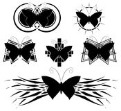 Set of Decorated butterflies tattoo Royalty Free Stock Images