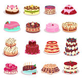 Set of Decorated Cakes Vector in Flat Design Royalty Free Stock Photos
