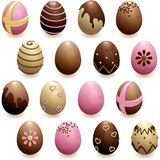 Set of decorated chocolate eggs. 16 glossy, detailed chocolate eggs for easter. Graphics are grouped and in several layers for easy editing. The file can be royalty free illustration