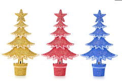 Set of decorated Christmas trees Stock Image