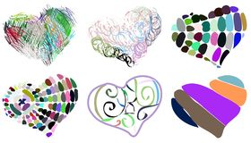 Set of decorated colorful hearts isolated Royalty Free Stock Photos