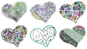 Set of decorated colorful hearts Stock Photo