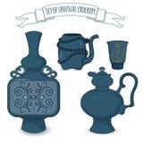 Set of decorated eastern crockery Royalty Free Stock Photos