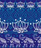 Set of decorated elephants on black Royalty Free Stock Photography