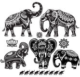 Set of decorated elephants. And lotus flower Royalty Free Stock Photography