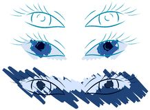 Set of Decorated eyes in different styles Stock Images