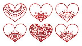 Set of decorated hearts with ornament on white background. Valentine`s day symbol royalty free stock image