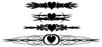 Set of decorated hearts tattoos in black  Royalty Free Stock Photos