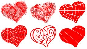 Set of decorated red hearts Stock Photography