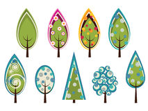 Set of decorated trees Royalty Free Stock Photography