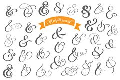 Set of decoration ampersands for letters and invitation on white background. Hand drawn type. Vector illustration. Ampersand set. Ampersand image stock illustration