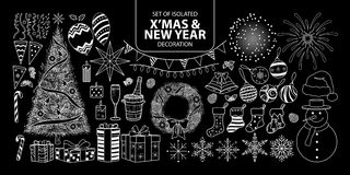 Set of  decoration for Christmas and New year. Vector illustration only white outline. Set of  decoration for Christmas and New year. Vector illustration only Stock Image