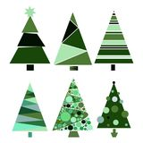 Set decoration christmas trees winter design season december celebration vector illustration Stock Images