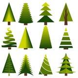 Set decoration christmas trees winter design season december celebration vector illustration Royalty Free Stock Photo