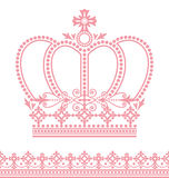 Crown. Set of decoration of crown and lace Stock Illustration