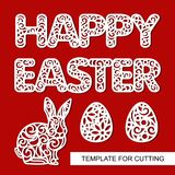 Set of decoration for Easter: rabbit hare, eggs and lacy inscription - Happy Easter. Template for laser cutting, wood carving, paper cut and printing. Vector Stock Photos