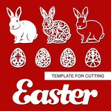 Set of decoration for Easter: rabbit hare, eggs and word `Easter`. Template for laser cutting, wood carving, paper cut and printing. Vector illustration Stock Image