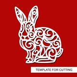 Set of decoration for Easter: rabbit hare, eggs and word `Easter`. Template for laser cutting, wood carving, paper cut and printing. Vector illustration Stock Photos