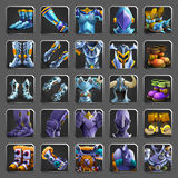 Set of decoration icons for games. Collection of medieval armors. Royalty Free Stock Photo