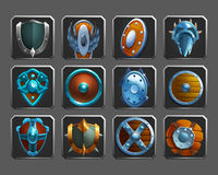 Set of decoration icons for games. Collection of medieval shields. Vector illustration Stock Photos
