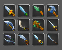 Set of decoration icons for games. Collection of medieval weapons. Stock Image