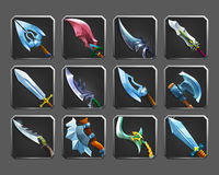 Set of decoration icons for games. Collection of medieval weapons. Royalty Free Stock Image
