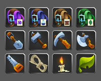 Set of decoration icons for games. Tools, bags, candle, rope. Vector illustration Royalty Free Stock Photos