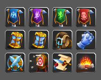Set of decoration icons for games. Stock Image