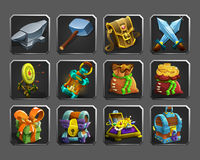 Set of decoration icons for games. Stock Photos