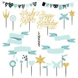 Set of decoration, toppers, candles and garlands with flags. Vector hand drawn illustration, scandinavian style in mint colors with gold glittering elements Royalty Free Stock Photo