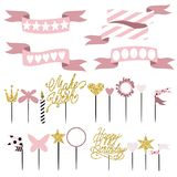 Set of decoration, toppers, candles and garlands with flags. Vector hand drawn illustration, scandinavian style in pink colors with gold glittering elements Stock Photos