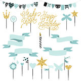 Set of decoration, toppers, candles and garlands with flags Royalty Free Stock Images