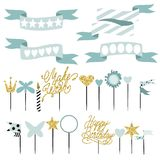 Set of decoration, toppers, candles and garlands with flags. Royalty Free Stock Photos