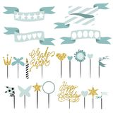 Set of decoration, toppers, candles and garlands with flags. Vector hand drawn illustration, scandinavian style in mint colors with gold glittering elements Stock Photos