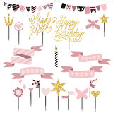 Set of decoration, toppers, candles and garlands with flags. Vector hand drawn illustration, scandinavian style in pink colors with gold glittering elements Stock Photography