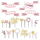 Set of decoration, toppers, candles and garlands with flags Royalty Free Stock Image