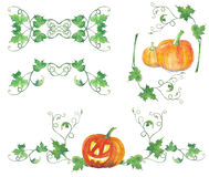 Set of decorations with halloween pumpkins. Watercolor pattern. Original patterns with halloween pumpkins and green leaves. Bright colors watercolor background Stock Photography