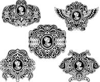 Set of decorative antique cameos Stock Images