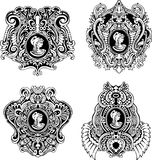 Set of decorative antique cameos Royalty Free Stock Images
